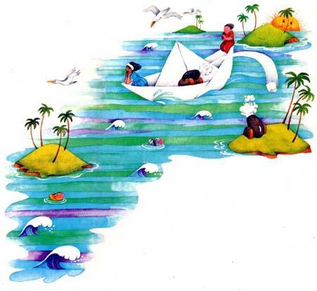Dibujo de Horacio Elena. Por el Mar de las Antillas anda un barco de papel  d6f853250a6