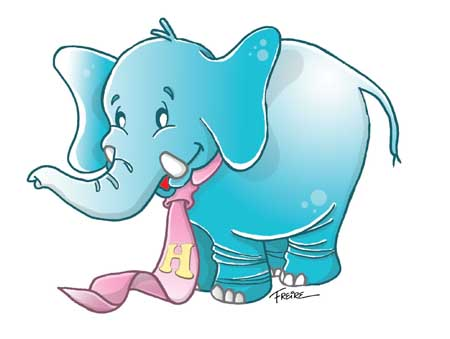 elefante dibujo con color